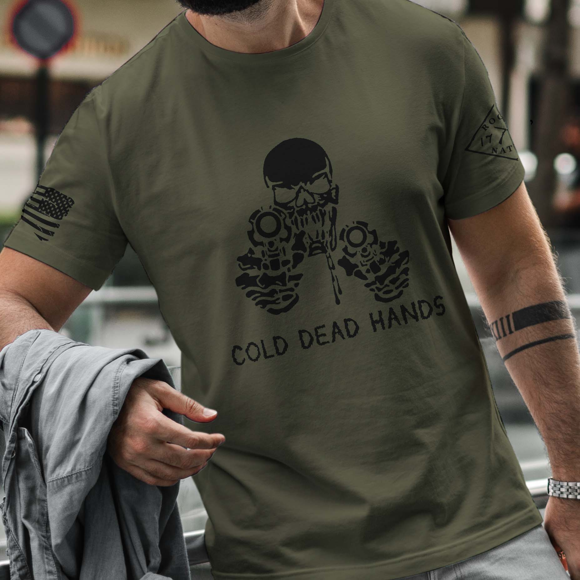 t-shirt cold dead hands army men's