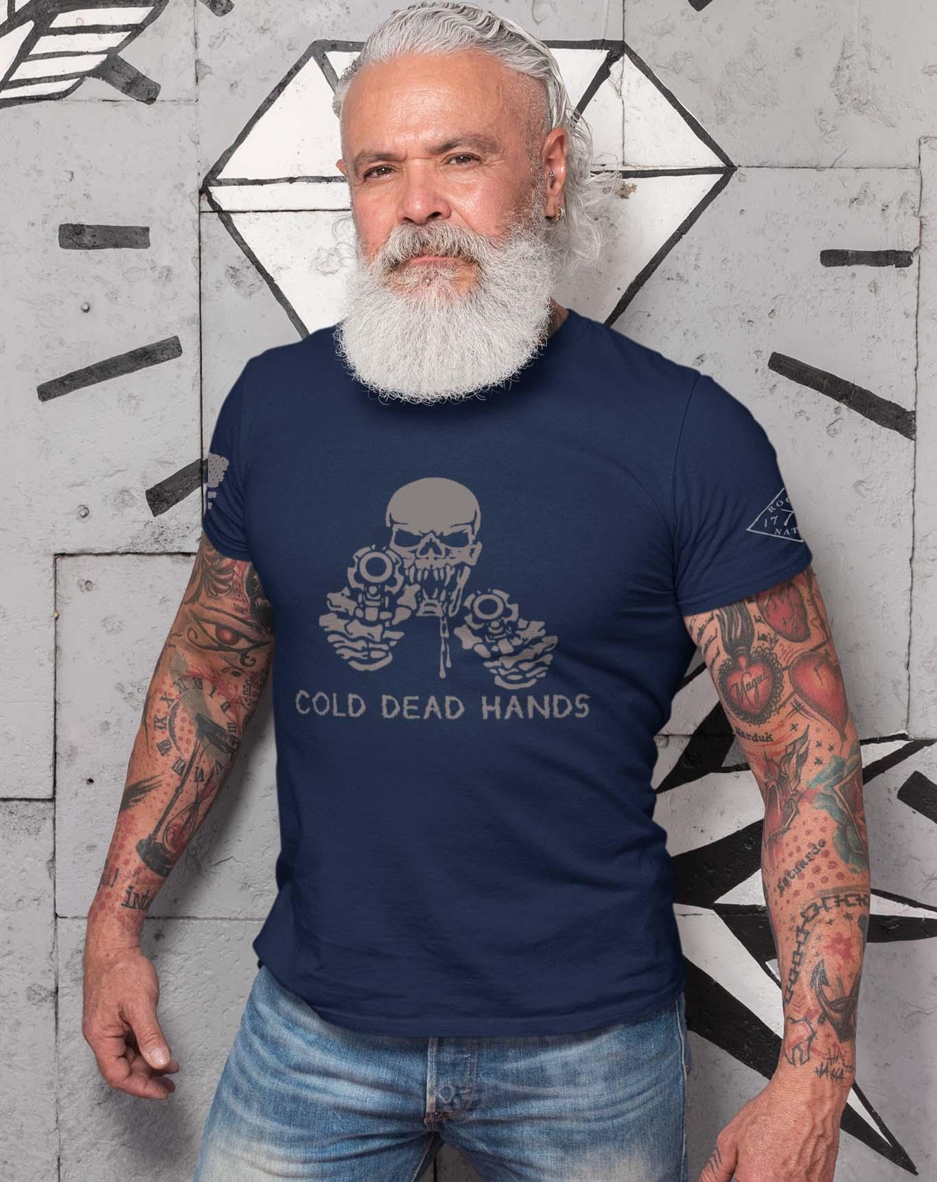 t-shirt cold dead hands navy men's