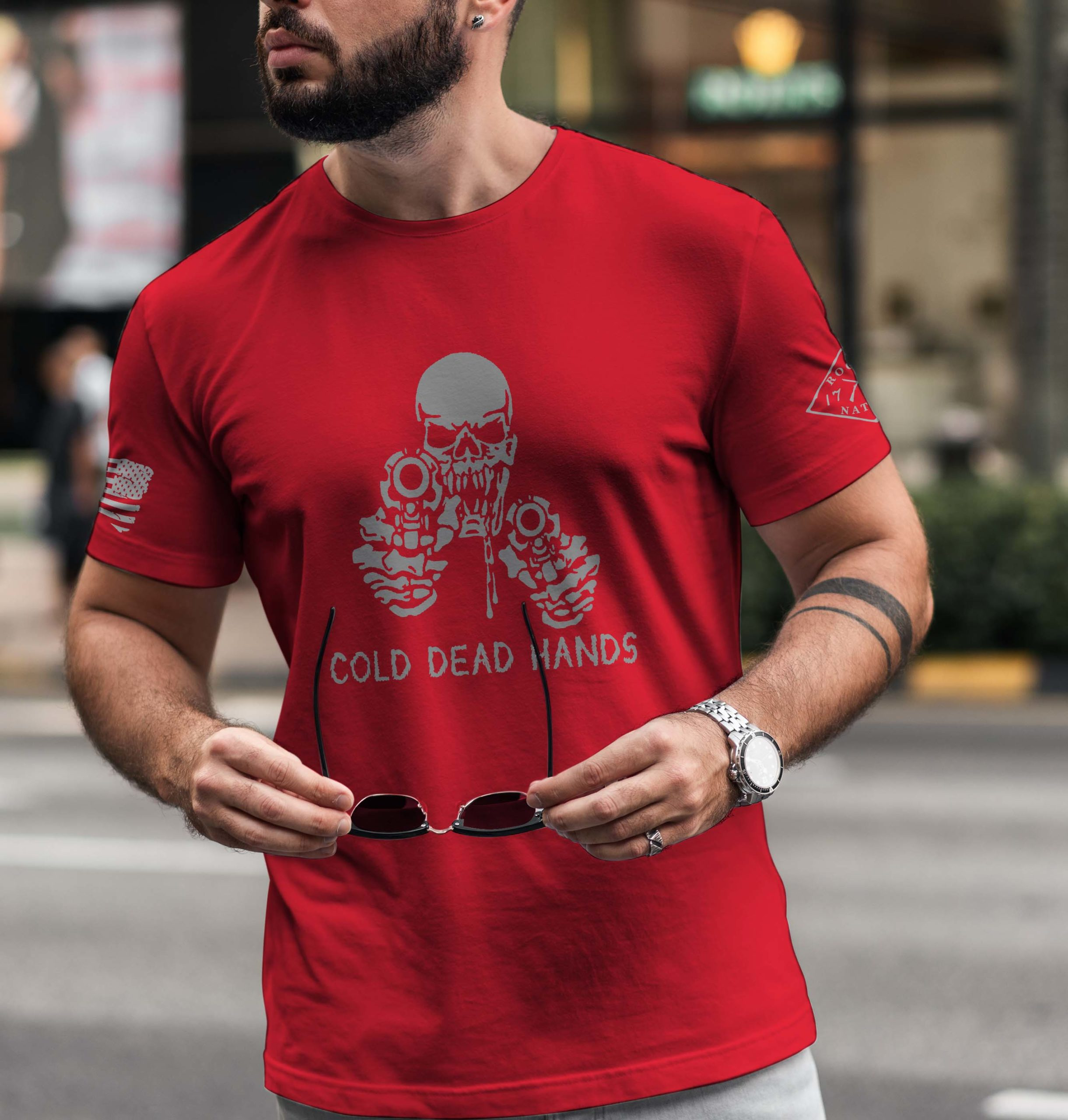 t-shirt cold dead hands red men's