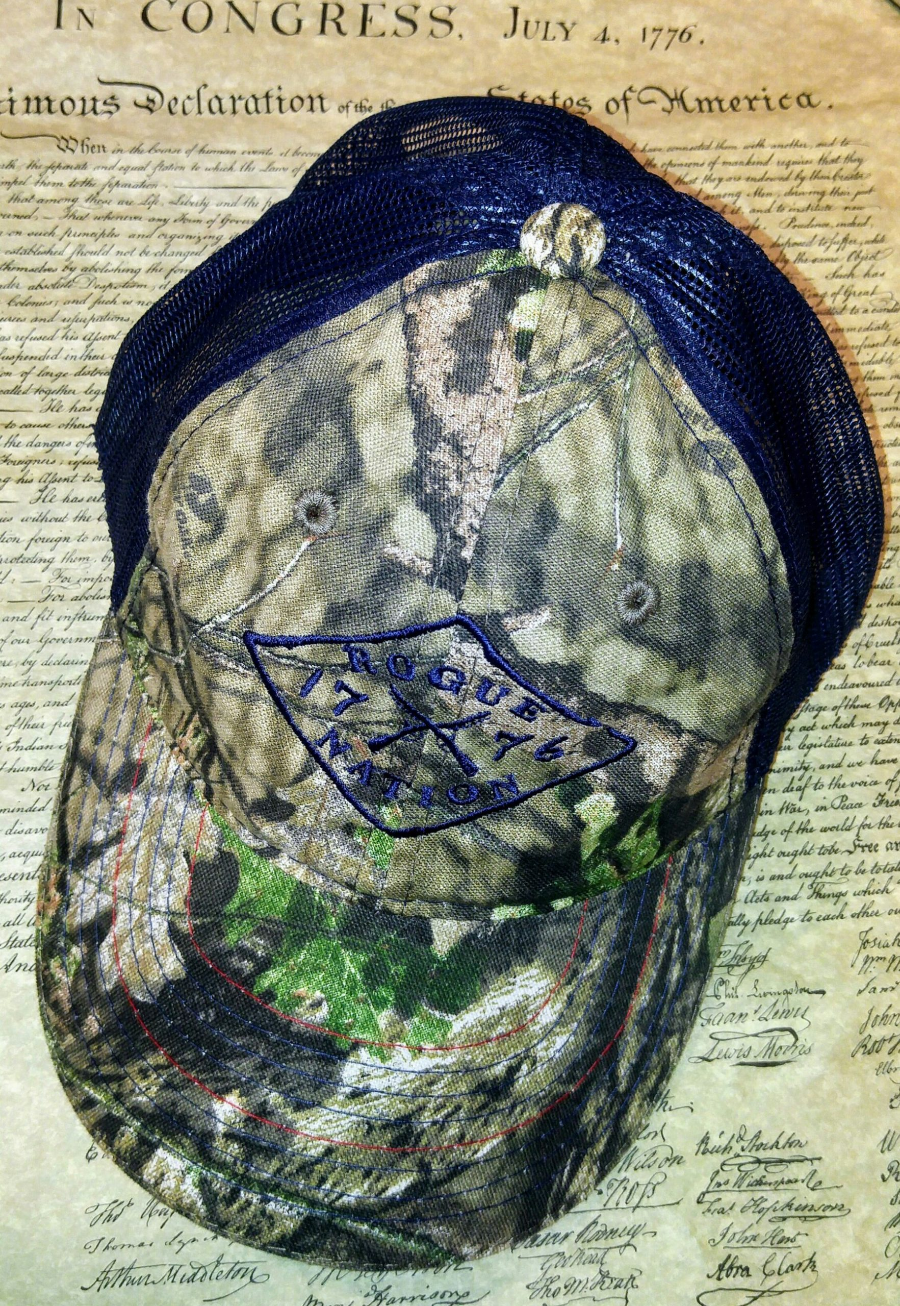 Mossy Oak Country Neon Blue Hat with the Rogue Nation 1776 logo