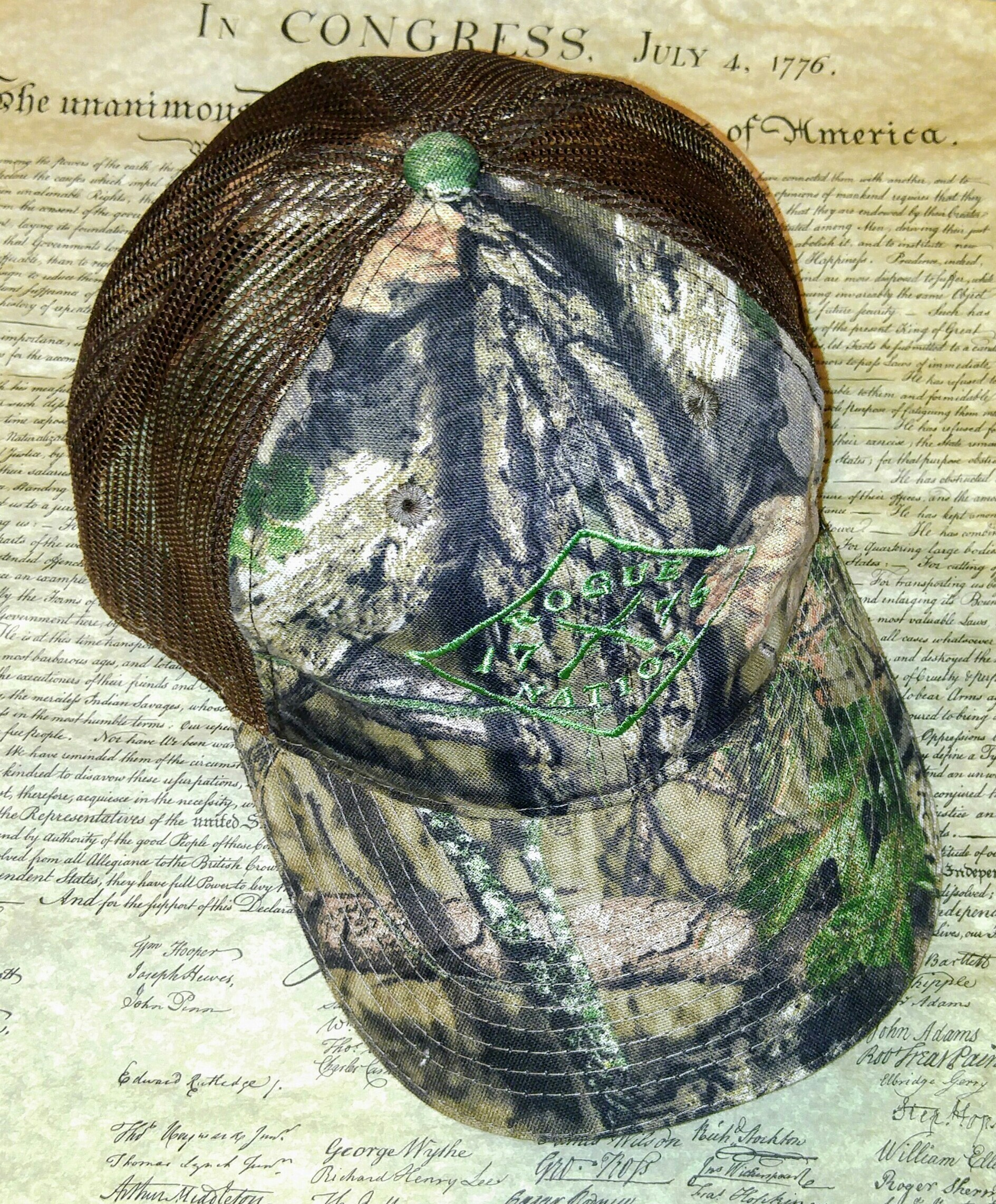 Mossy Oak Country Neon Brown Hat with the Rogue Nation 1776 logo