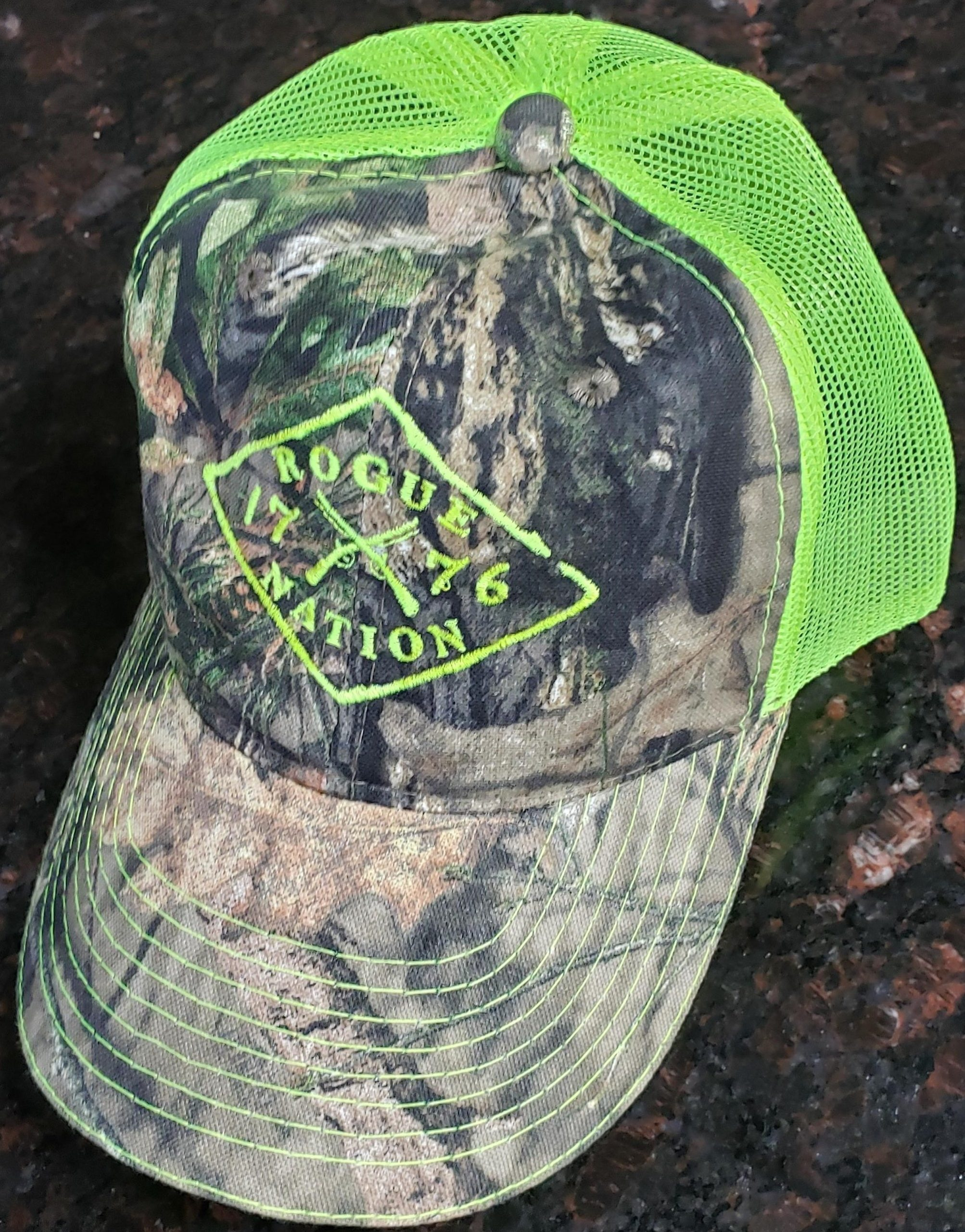 Mossy Oak Country Neon Yellow Hat with the Rogue Nation 1776 logo
