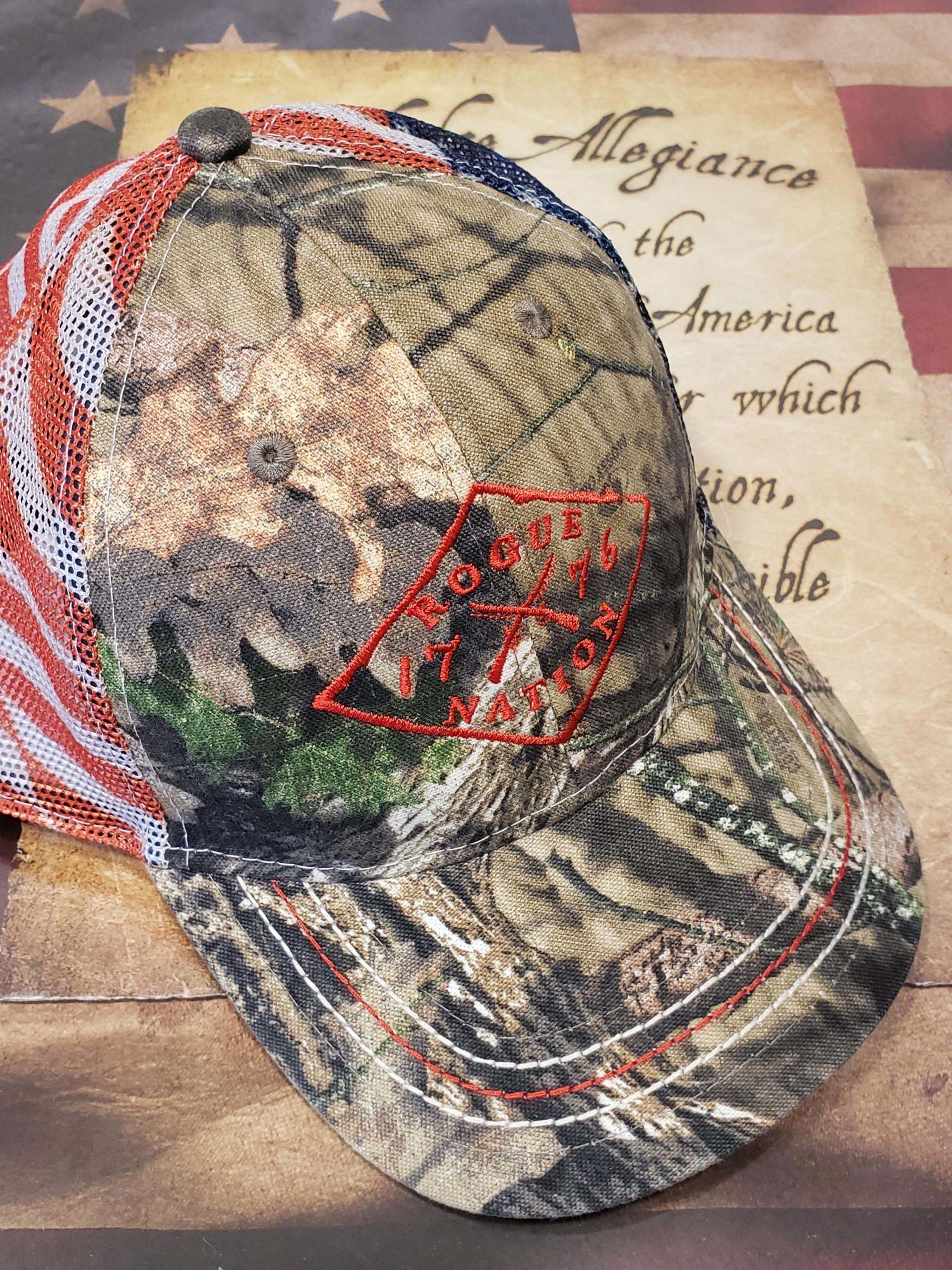 Mossy Oak County Camo Hat w/American Flag Mesh Back