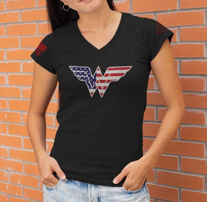 Wonder Woman heather black v-neck t-shirt