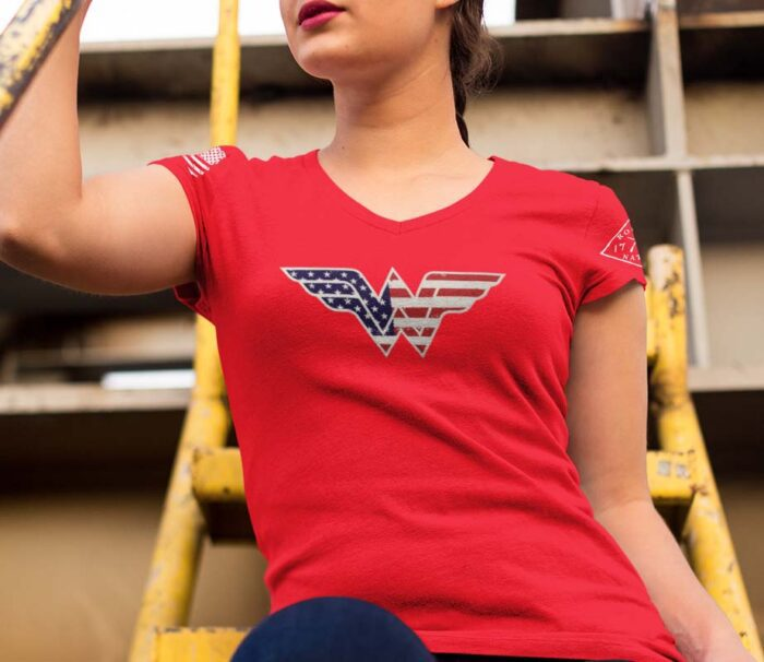 Red Wonder Woman v-neck t-shirt