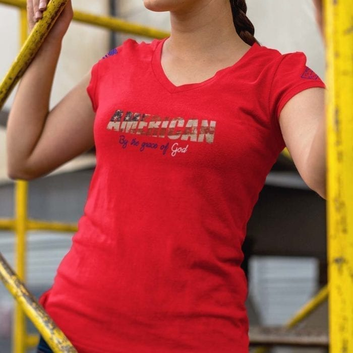 t-shirt by the grace of god on womens red v-neck