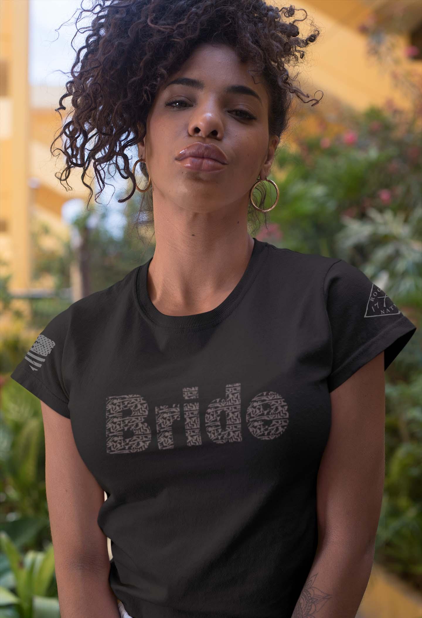 Bride in guns in women's black