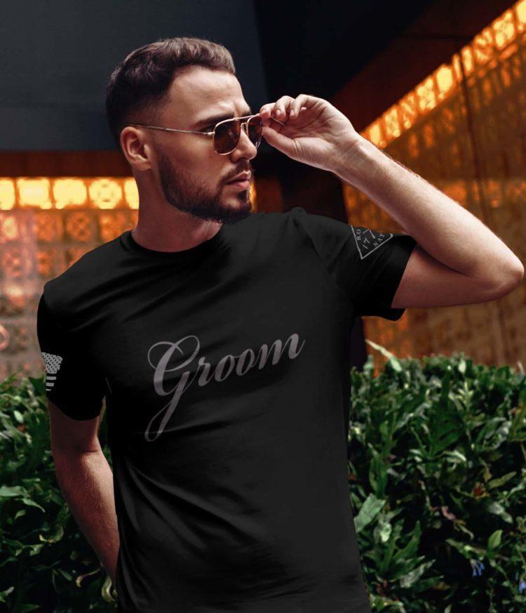 Groom in men's black