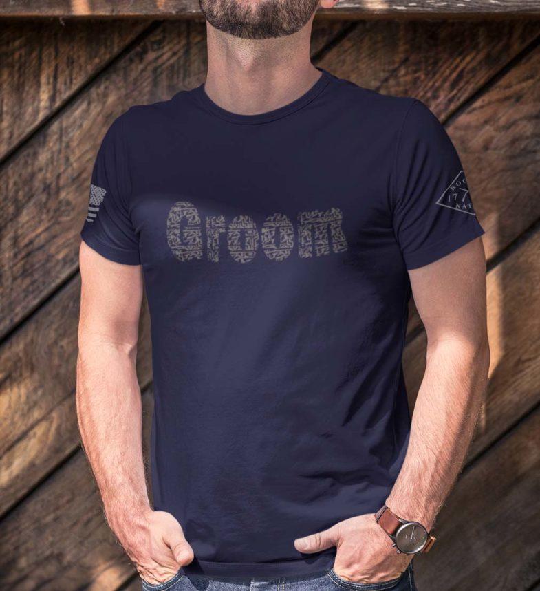 Groom in men's navy blue