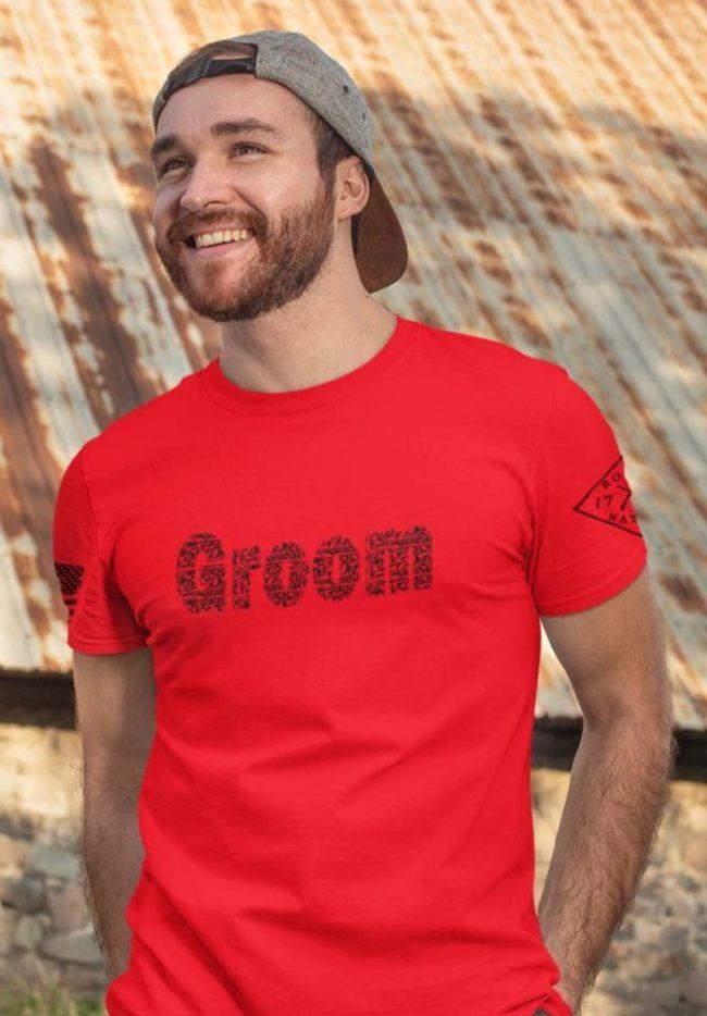 Groom in guns in men's red
