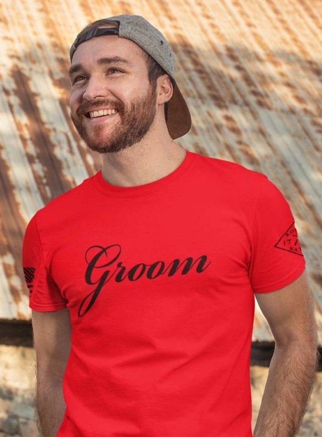 Groom in mens red