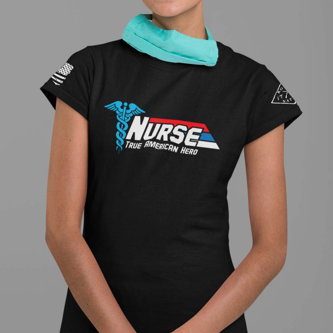 Nurse-True American Hero on women's black t-shirt