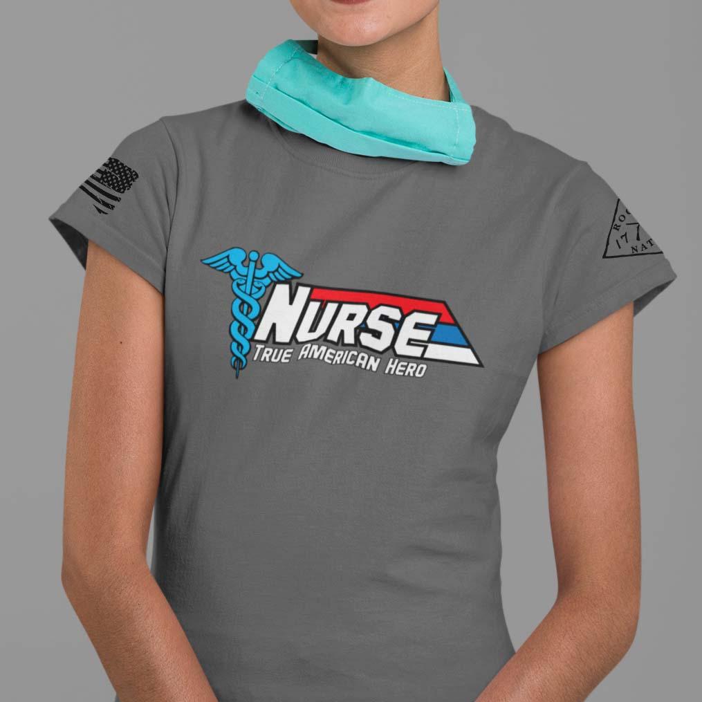Nurse-True American Hero on women's charcoal t-shirt