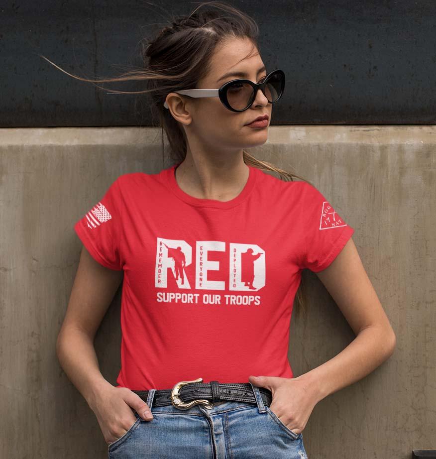 R.E.D in white women's t-shirt