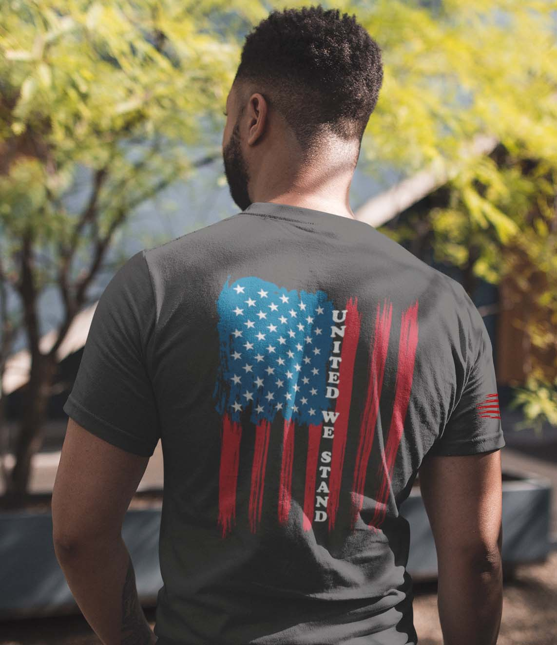 t-shirt with united we stand on back on charcoal men's