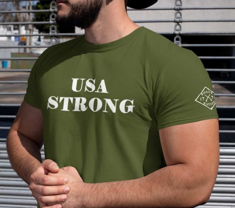 t shirt USA strong on army green Mens