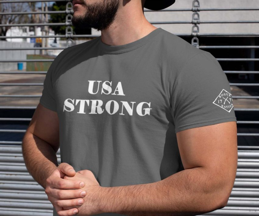 t shirt USA strong on charcoal Mens