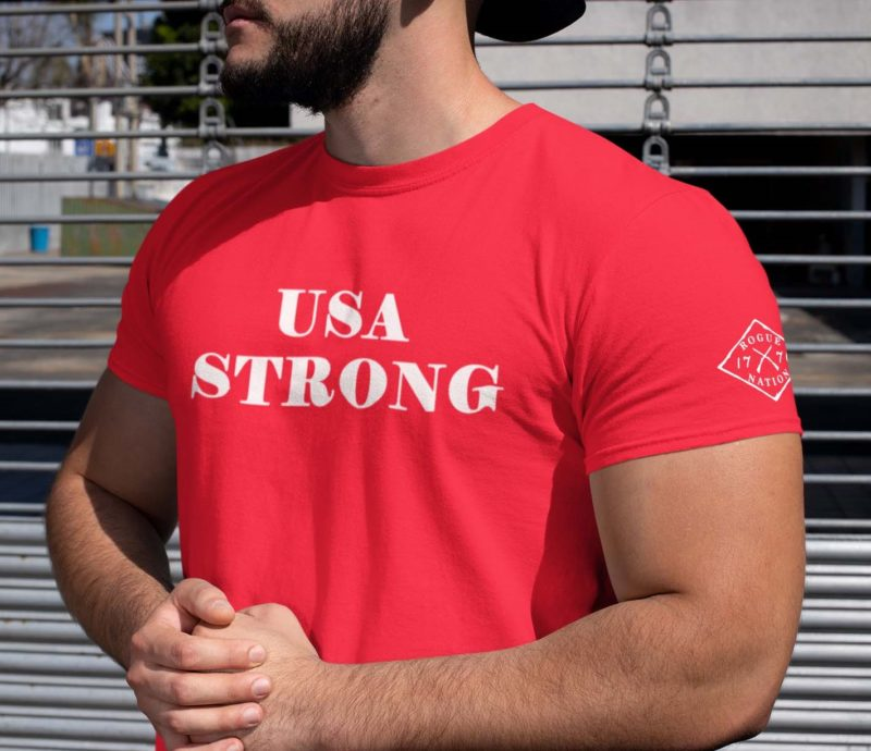t shirt USA strong on Red Mens
