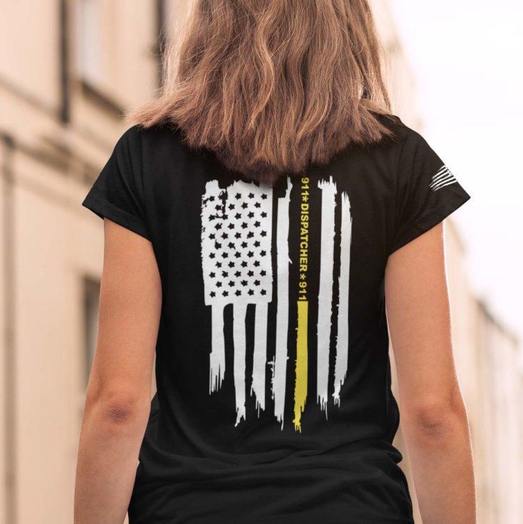 Thin gold line flag on women's black