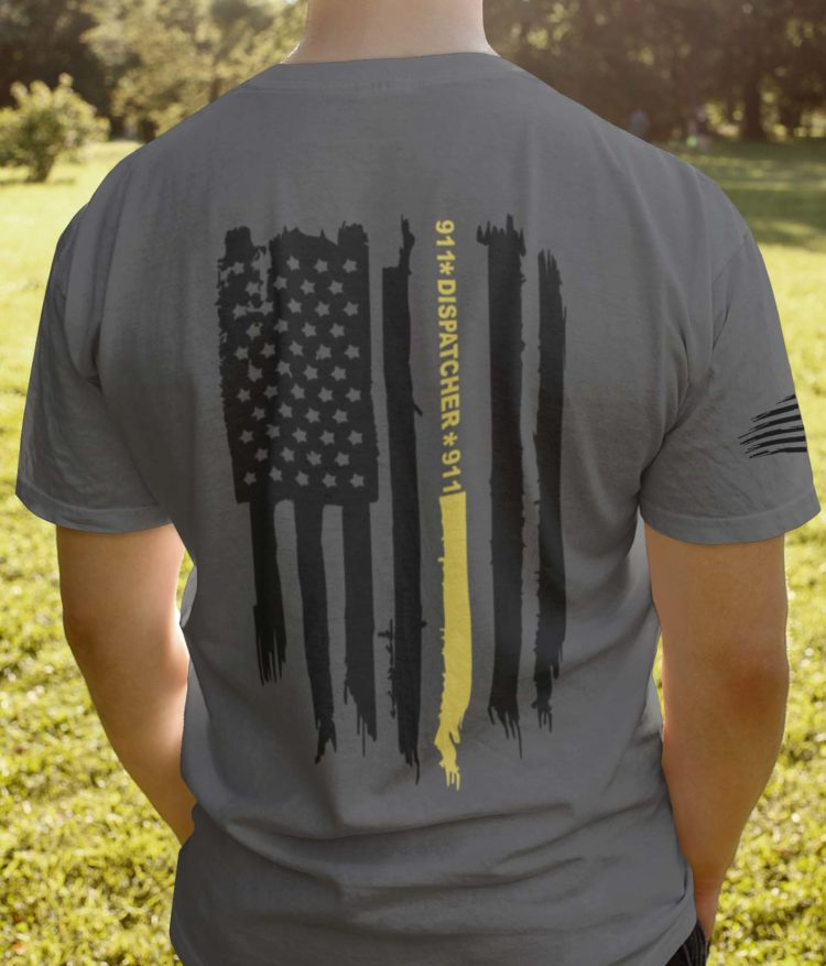 Thin gold line flag on mens' charcoal