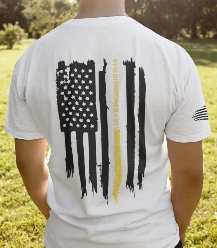 Thin gold line flag on men's white