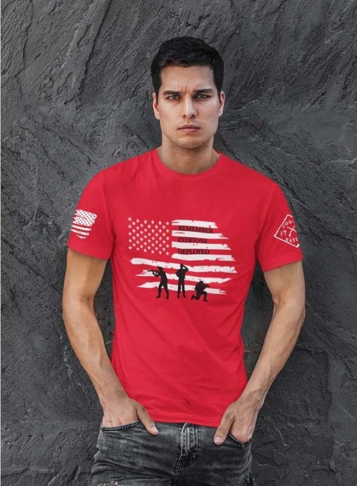 Remember Everyone Deployed RED T-Shirt on red mens