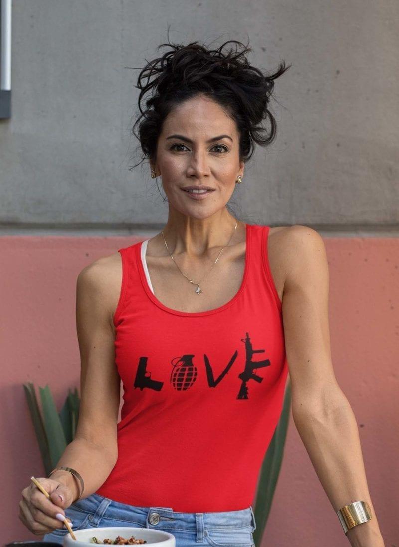 Love Guns on womens red tank top