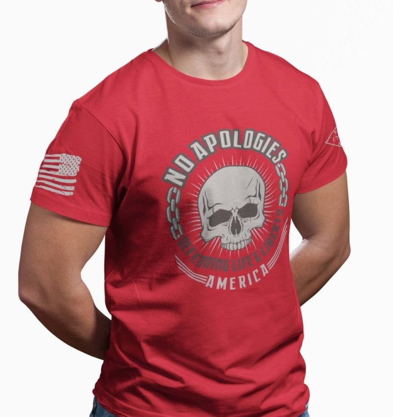 No Apologies on Men's Red T-Shirt