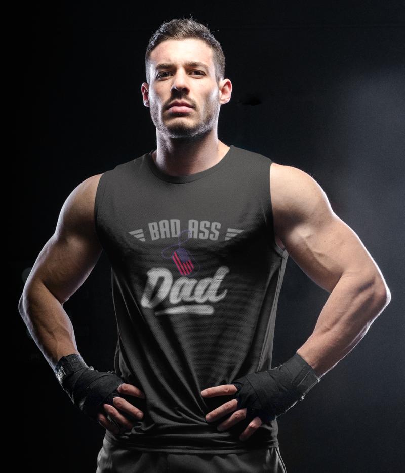 Bad Ass Dad Military on Mens black tank
