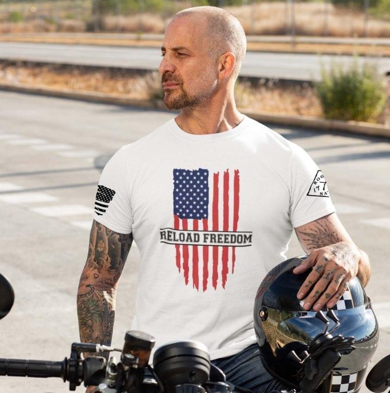 Reload Freedom on white mens tshirt