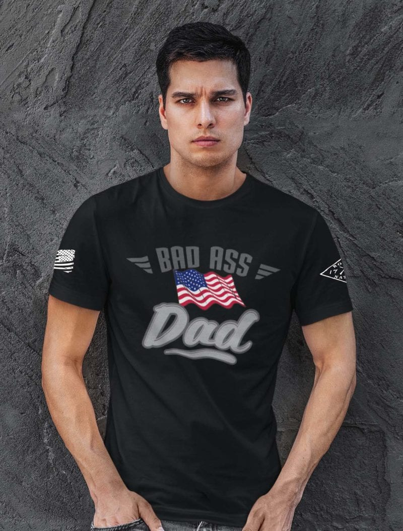Bad Ass Dad on Mens Black T-Shirt