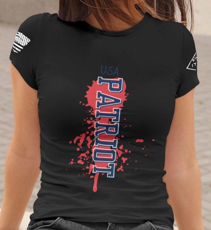 Patriot on womens black t-shirt