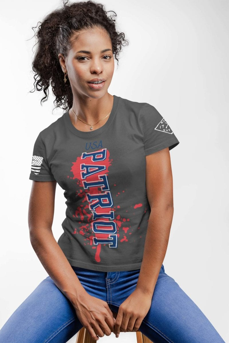 Patriot on women's charcoal t-shirt