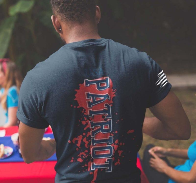Patriot on mens navy blue t-shirt