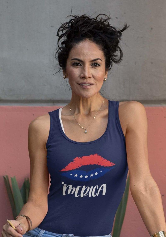 'Merica on Womens navy blue Core tank
