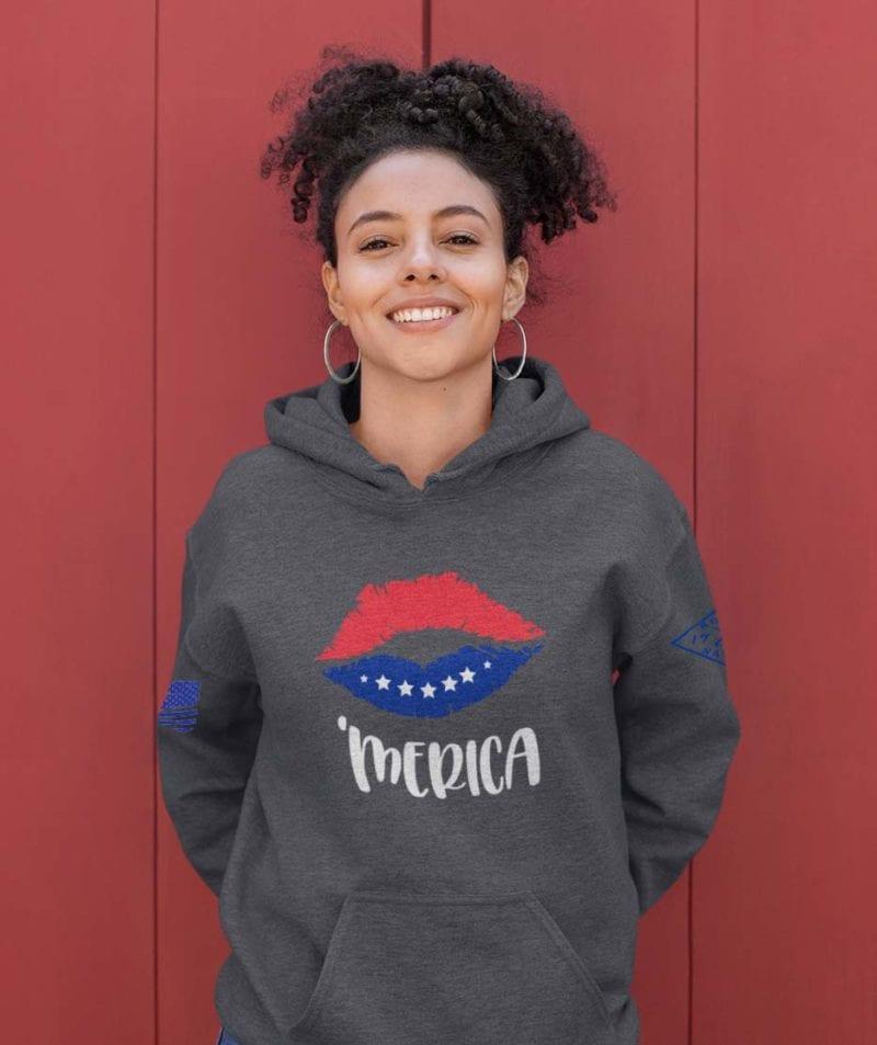 'Merica on heathered charcoal hoodie