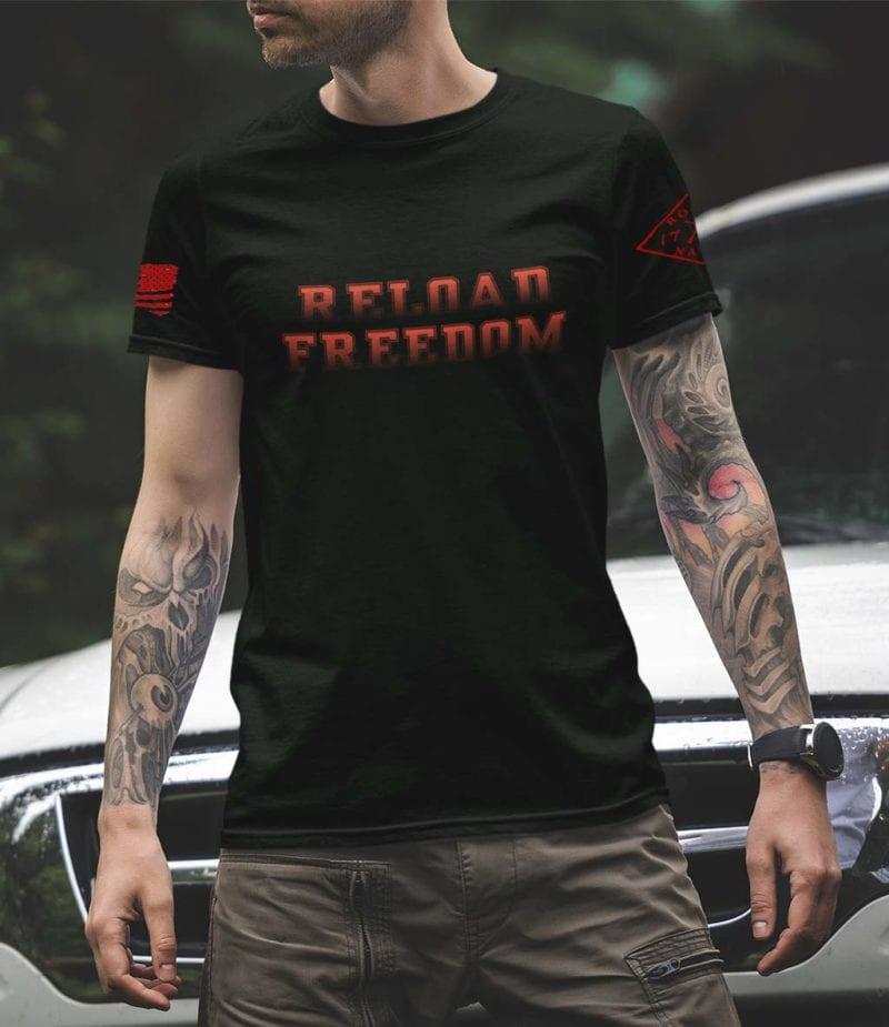 Reload in red on mens black tshirt