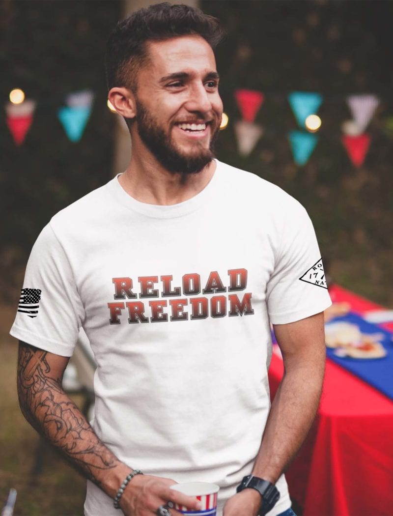 Reload in red on mens white tshirt