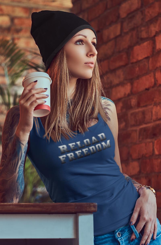 Reload in white on women's blue core tank