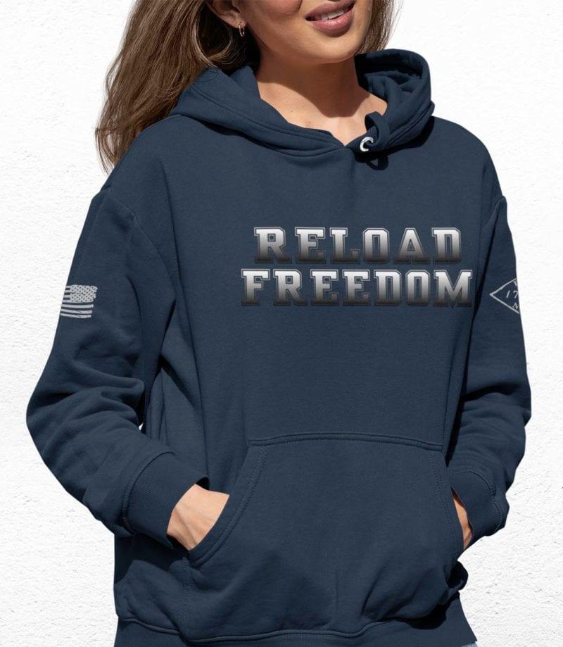 Reload on slate blue hoodie