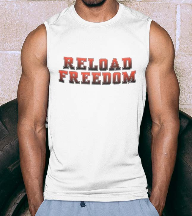 Reload in Red on mens' white muscle tank