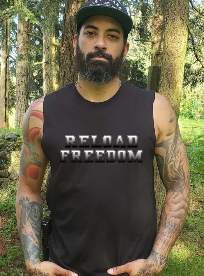 Reload on white on men's black muscle tank