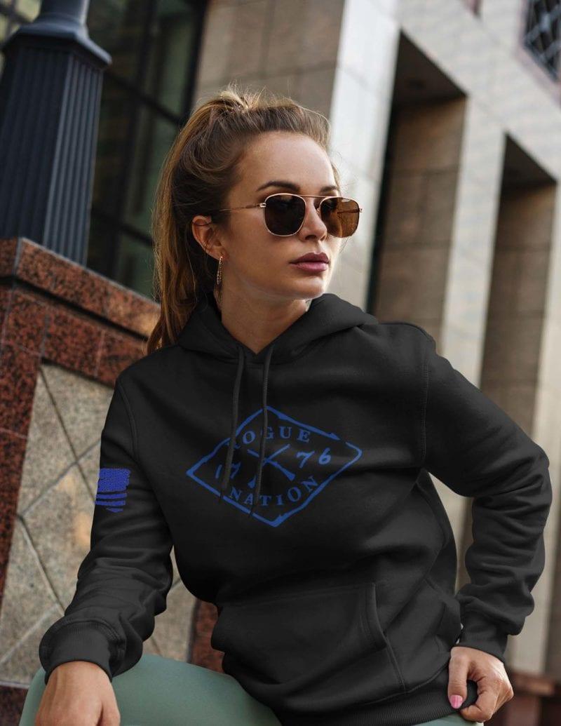 Rogue Nation Blue Logo on black hoodie