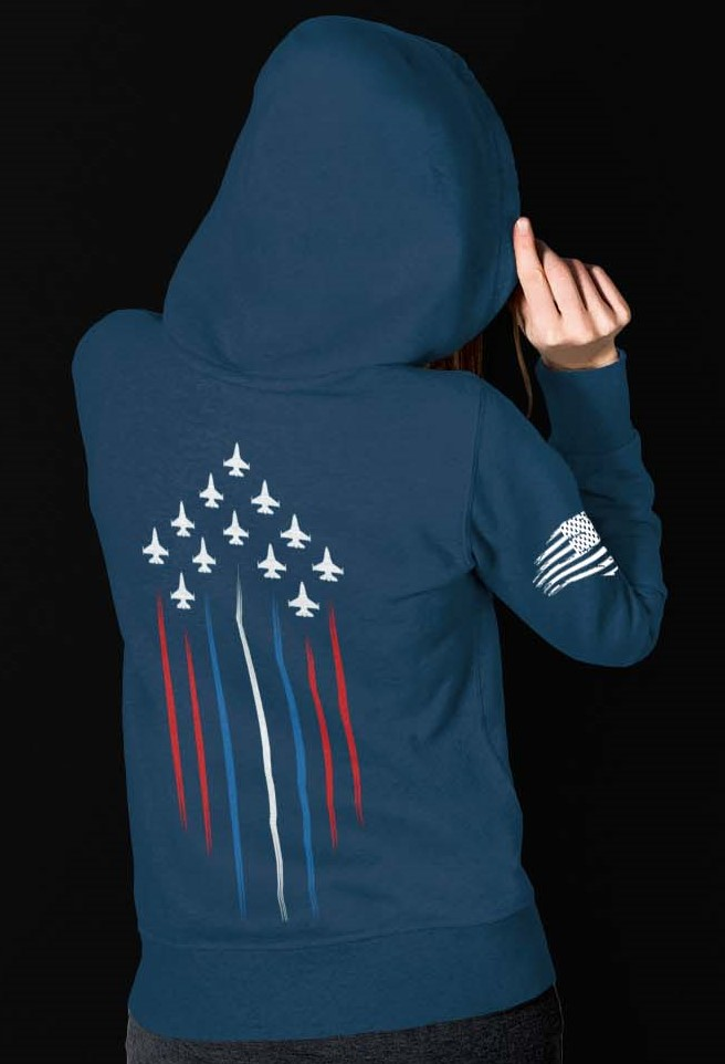 F/A-18 Jets with red, white and blue on slate blue hoodie