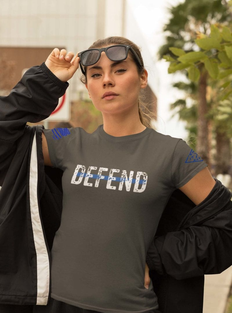 Defend Blue on Womens Charcoal Tshirt