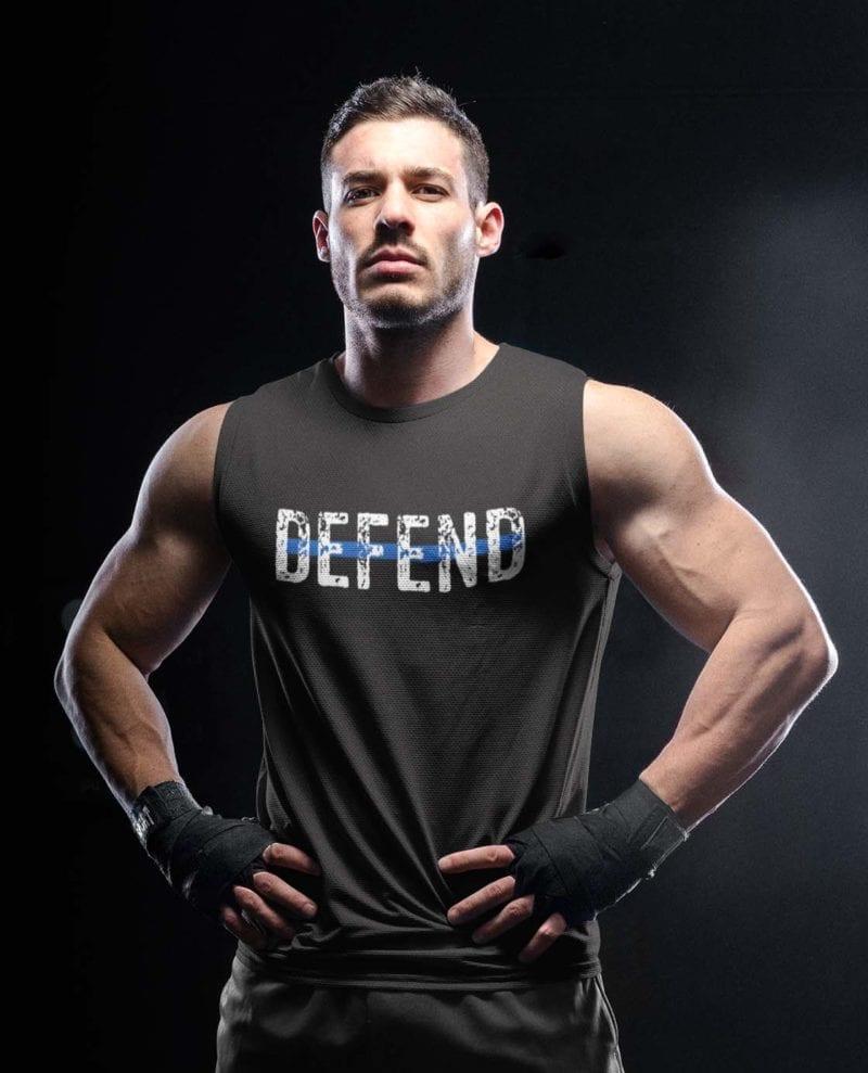 Defend Blue on Men's Black Tank Top