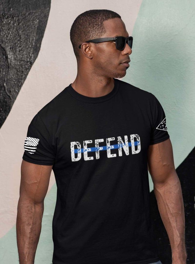 Defend Blue on Men's Black T-Shirt