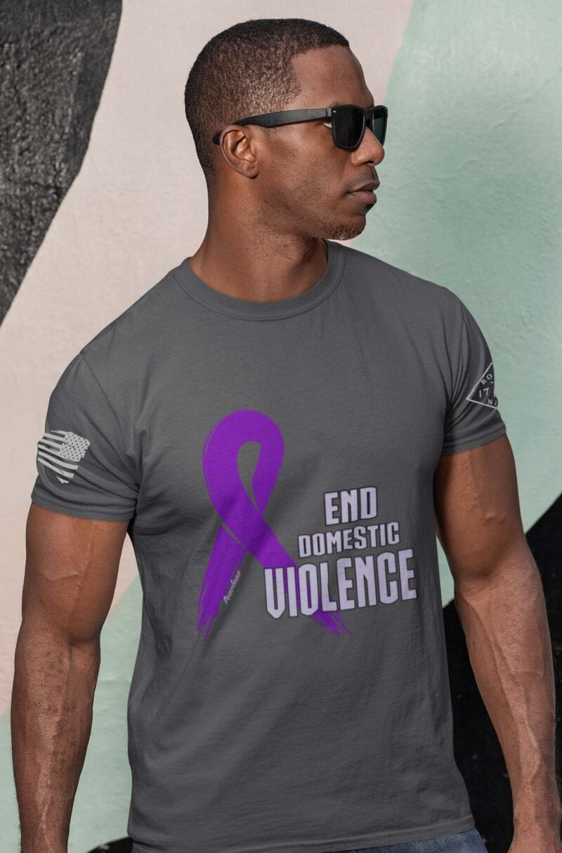 Domestic Violence T-Shirt on Men's Charcoal