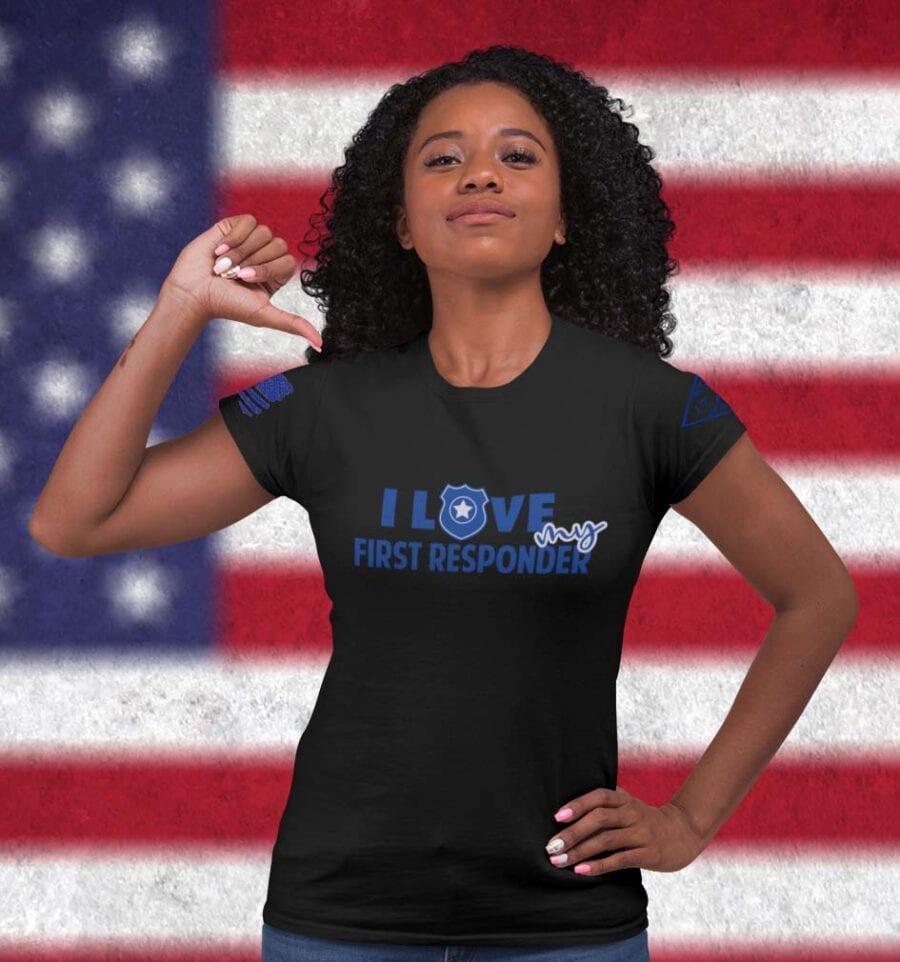Love My Blue on Women's Black T-Shirt