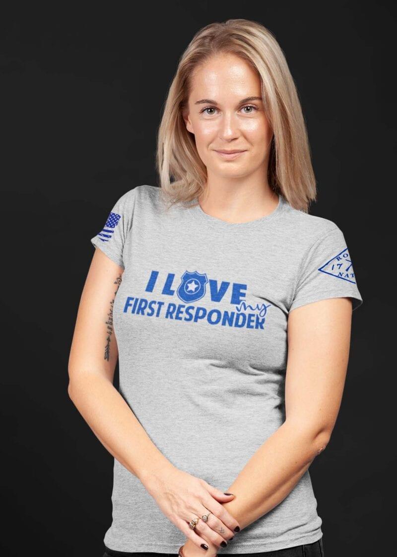 Love My Blue on Women's Light Heather Gray T-Shirt